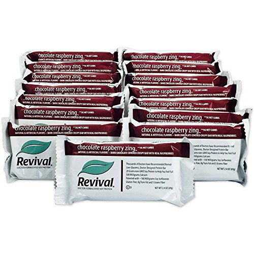 Revival Chocolate Raspberry Zing Soy Protein Bar, 20g of Natural Soy Protein ~160mg of Soy Isoflavones, Low-glycemic, Plant Based Protein, Kosher, Low-fat, Low-carb, Non-GMO, 15 Bars ()