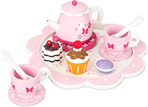 16 Pc Wooden Tea Set Toy - Includes Wood Tea Pot, Carrying Tray, teacups, Cupcakes. Made with Premium Materials - Encourages Pretend Play and Communication Skills - Wooden Toys for Children 3+