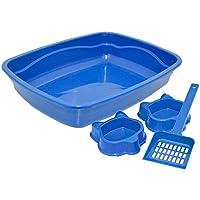 Kit Caixa De Areia + Pá + 02 Potes Comedouro e Bebedouro (Azul)