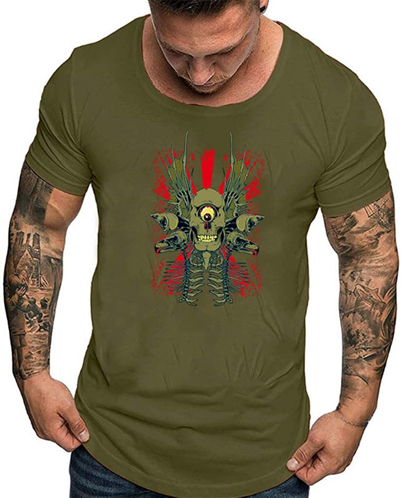 Mens Printed Skull Basic Tee Casual Crewneck Short Sleeve T-Shirts 2019 Summer Quick Dry Cool Fitness Blouse by Leegor