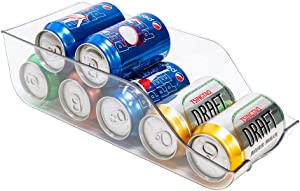 blitzlabs Fridge Organizer Bins Can Drink Dispenser Beverage Holder for Refrigerator, Freezer, Kitchen, Countertops, Cabinets - Clear Plastic Canned Food Pantry Storage Rack