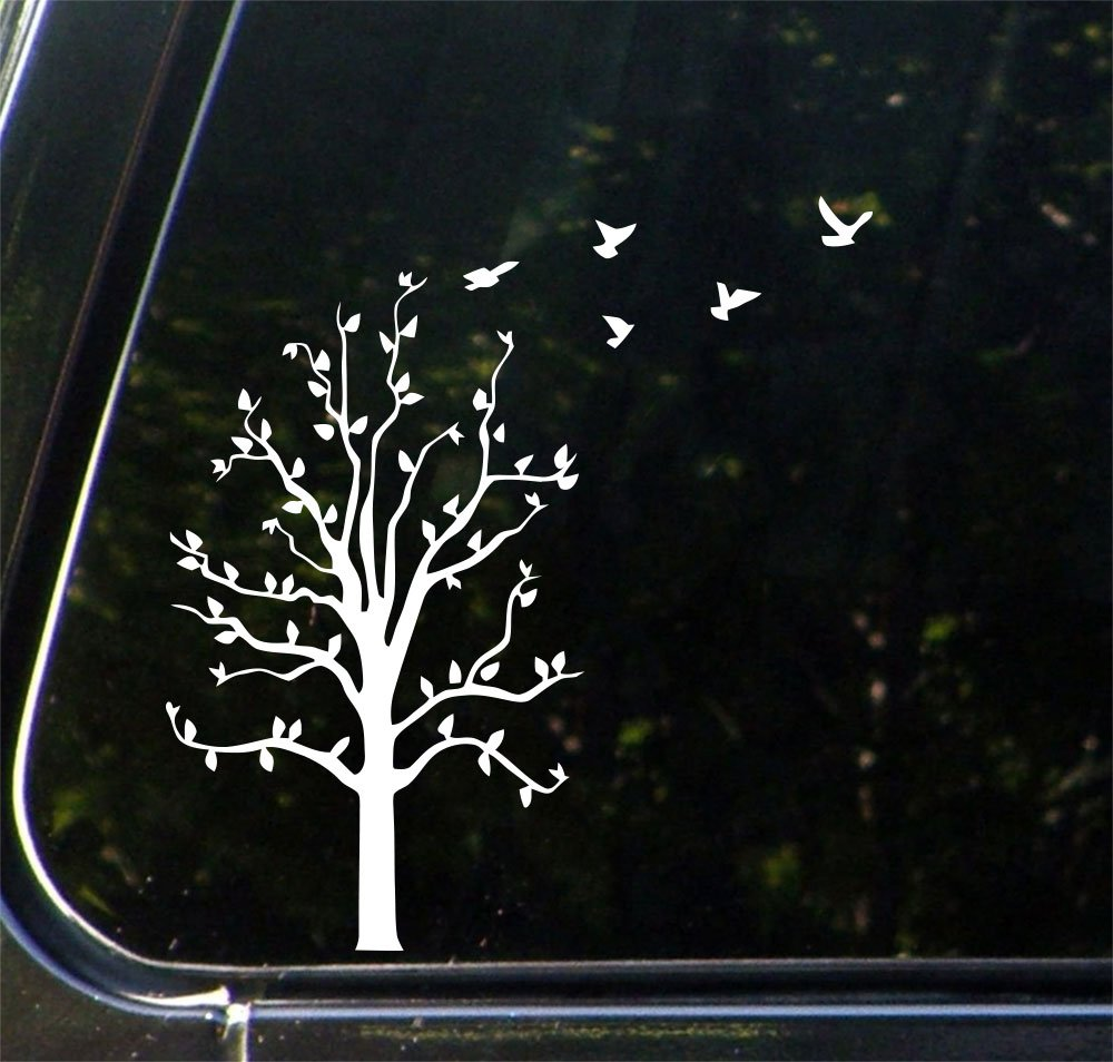 Tree with flying birds car vinyl decal sticker 10 5 w x 8 5 h white birds flying right