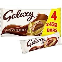 Galaxy Smooth Milk Chocolate Bar Multipack for Sharing, 4 Bars of 42 g, (Packaging May Vary)