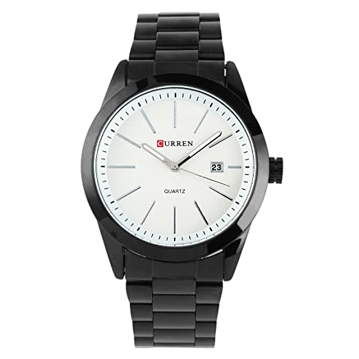 CURREN Quartz Reloj De Cuarzo 8091 Para Caballero Correa Negra de Aero Inoxidable Esfera Blanca: Amazon.es: Relojes