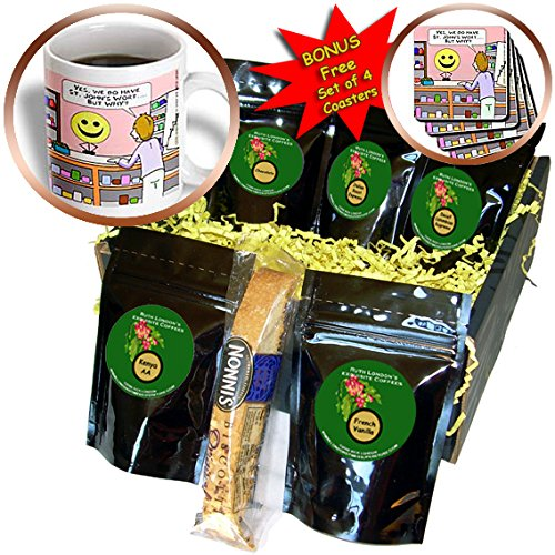 Londons Times Funny Medicine Cartoons - Smiley Face Buys St. John s Wort - Coffee Gift Baskets - Coffee Gift Basket (cgb_2315_1)