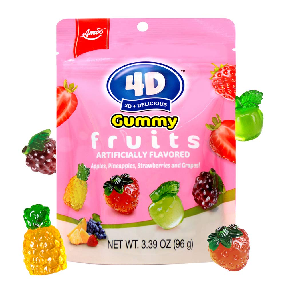 Amos 4D Gummy Fruits Mix 4 Fruit Gummy Contains Real Fruit Juice 3D Strawberry Pineapple Grape Apple Gummies Candy For Decoration 3.39 Oz Per Bag(Pack of 12)