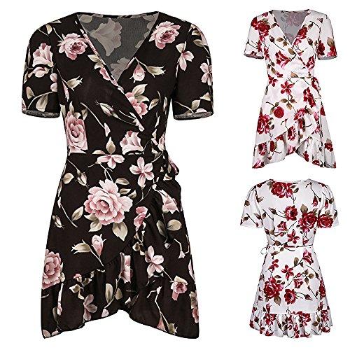 V Neck Loose Hem Irregular Beach Bonboho Black Floral Short Women Summer Dress Sleeve axEnSxq4fw