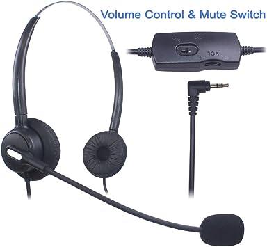 Auriculares Teléfono Fijo 2,5 mm Dual, Cancelación de Ruido Micrófono, Control de Volumen, Cascos Teléfono inalámbrico para Panasonic Polycom Grandstream Gigaset Cisco Linksys SPA Zultys(X203VP): Amazon.es: Electrónica
