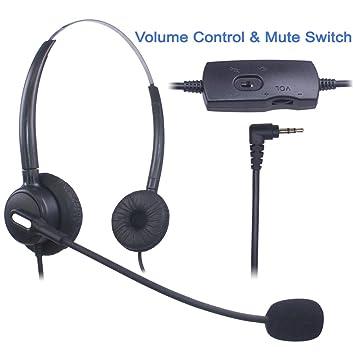 Auriculares Teléfono Fijo 2,5 mm Dual, Cancelación de Ruido Micrófono, Control de