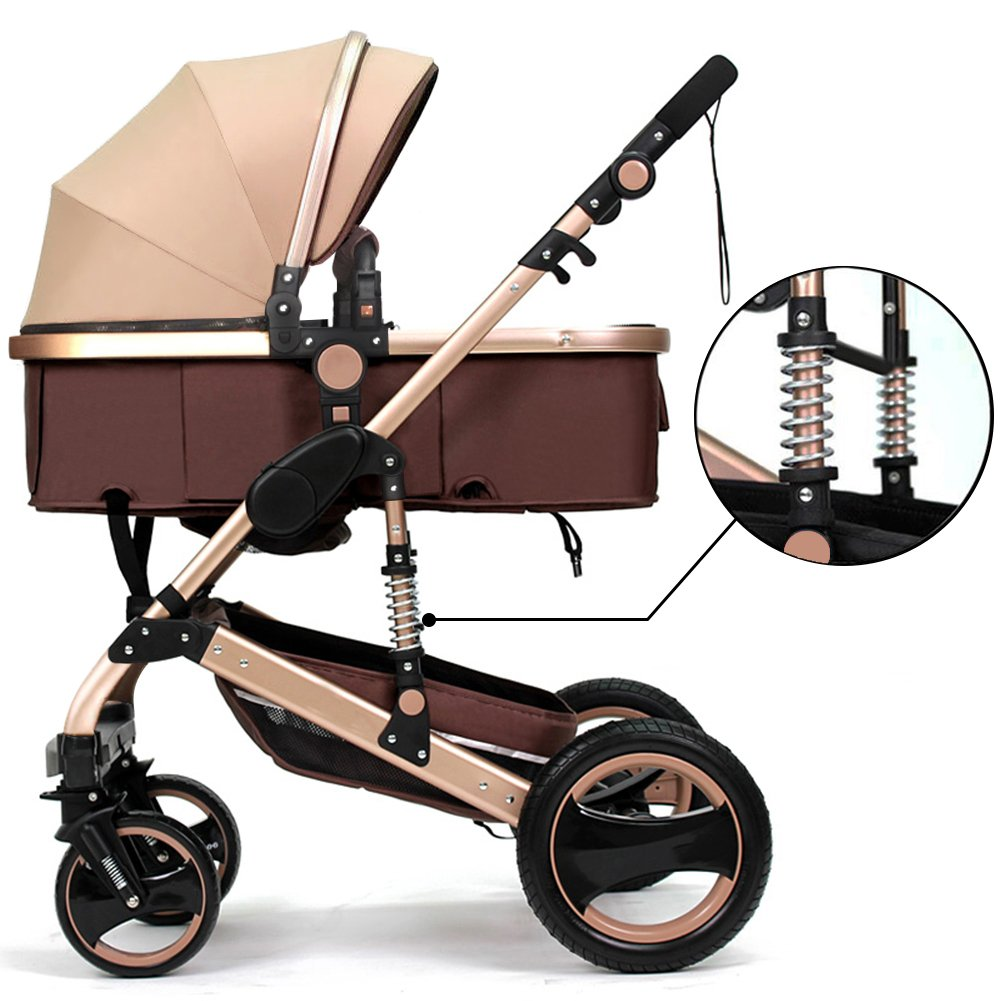 Belecoo Luxury Newborn Baby Foldable Anti Shock High View Carriage Infant Stroller Pushchair Pram Golden