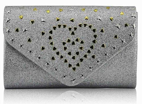 TrendStar - Cartera de mano para mujer Small Plata - Silver Glitter Heart Clutch