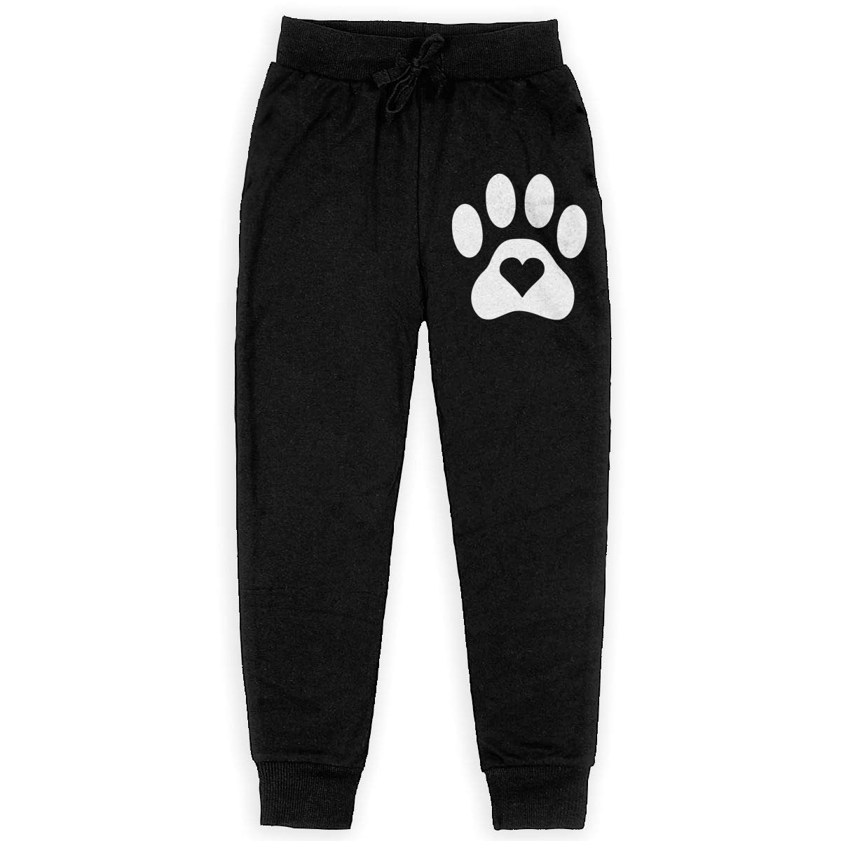Youth Warm Fleece Active Pants for Teen Girls Dog Paw Heart-1 Soft//Cozy Sweatpants