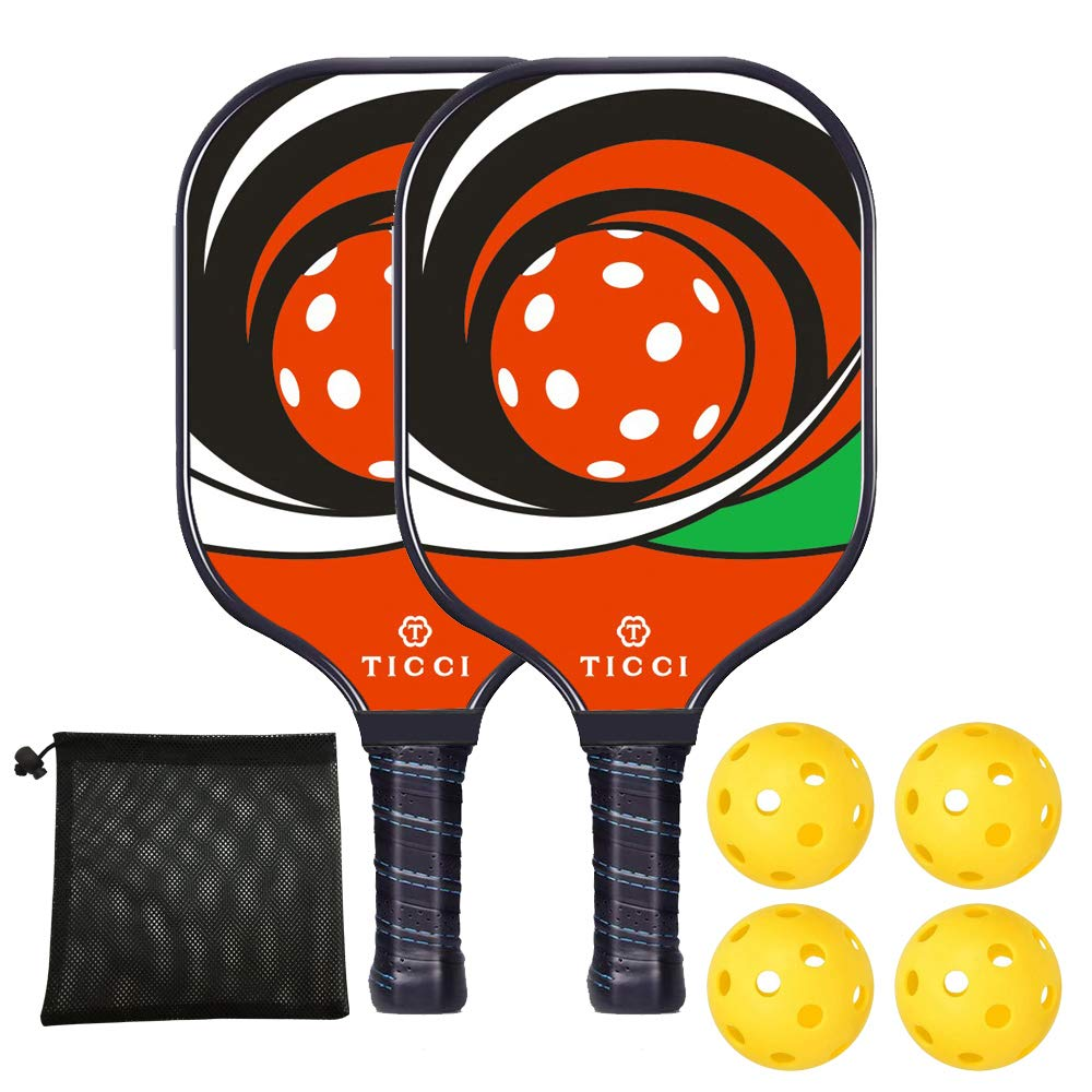 TICCI Pickleball Paddle Set Fiberglass Face Pickleball Racket Lightweight Honeycomb Composite Core Pickleball Racquet Set Includes 2 Paddles + 4 Balls(Bright Red Green) by T TICCI