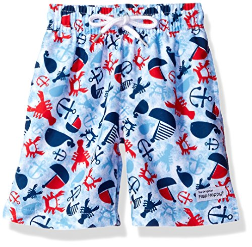 Flap Happy Baby Boys' UPF 50 Swim Trunk With Mesh Liner, Lobster Lagoon, 18m (Childrens Flap Clothing Happy)