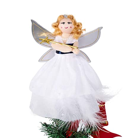 Angel Christmas Tree Topper.Macting Mini Angel Christmas Tree Topper White 7 Inch Light Angel Treetop With Silver Wings For Christmas Decorations Xmas Tree Ornament
