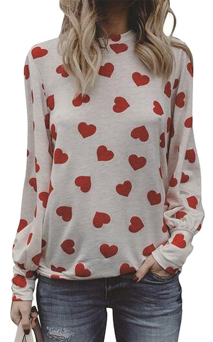 Tingwin Women Printing Leisure Long Sleeve Round Neck Tops Sweatshirt