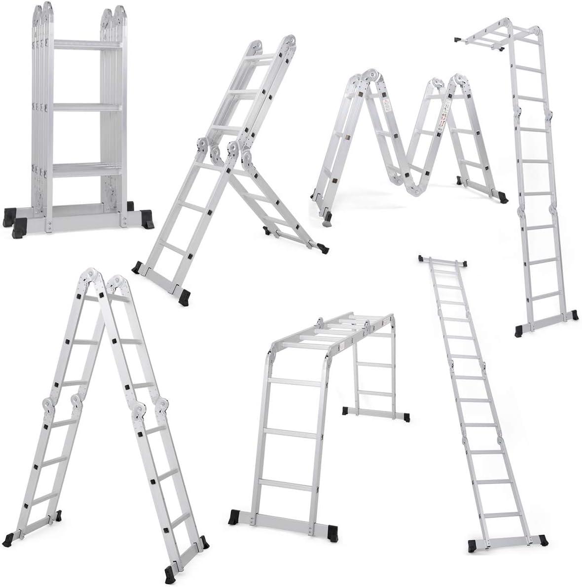 Giantex 12.5 Ft Multi Purpose Folding Step Ladder Platform Extendable Scaffold Ladder EN131 Aluminum 7 in 1 Extension Step Lightweight 330LB (12.5 Ft)