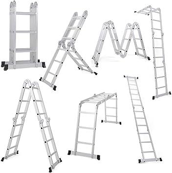 Giantex 12 5 Ft Multi Purpose Folding Step Ladder Platform Extendable Scaffold Ladder En131 Aluminum 7 In 1 Extension Step Lightweight 330lb 12 5 Ft Amazon Com