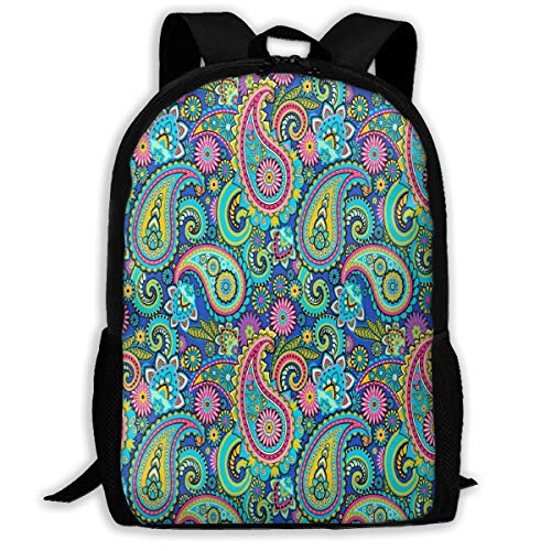 Laptop Backpack Purple Paisley Zipper School Bookbag Daypack Travel Rucksack Gym Bag For Man Women