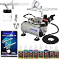 2 Master Airbrush Professional Gravity and Siphon Feed Airbrushing System Kit with 6 U.S. Art Supply 6 Primary Opaque Colors Acrylic Paint Set - Black, Red, Blue, Yellow, Green, White - Air Compressor