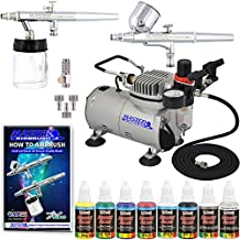 Complete Professional 2 Airbrush Kit with G22, S68 Airbrushes, Master Compressor TC-20, Air Hose & 6 Primary US Art Supply Airbrush Paint Colors