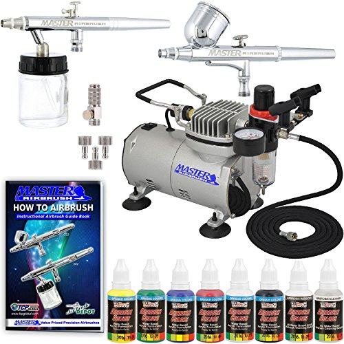 Kit Airbrush Feed (2 Master Airbrush Professional Gravity and Siphon Feed Airbrushing System Kit with 6 U.S. Art Supply 6 Primary Opaque Colors Acrylic Paint Set - Black, Red, Blue, Yellow, Green, White - Air Compressor)