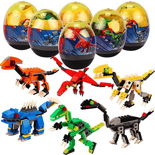 Tacobear 6PCS Dinosaur Egg Toys Dino Building Blocks Toys Miniature Action Figures Mini Building Blocks Playset for Boys Girls 511 Pieces