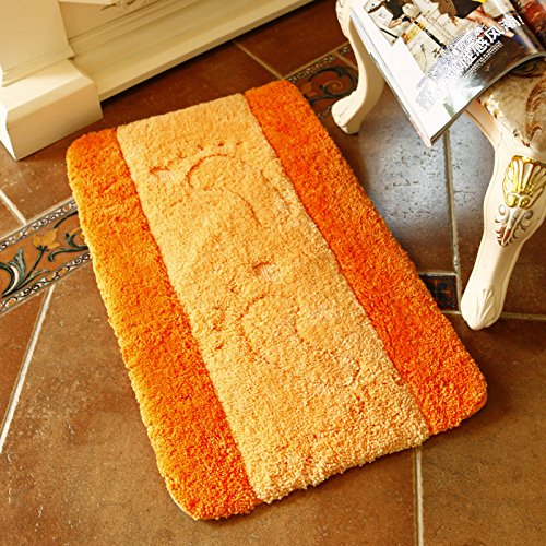 CLG-FLY Thicken kitchen hallway bathroom bedroom door mat door mat door mat non-slip bath mat absorbent pad,60x90CM+U-50x60CM,Lemon-orange big feet
