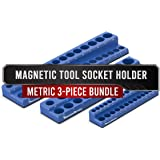 Precision Defined Magnetic Tool Socket Organizer 3-Piece Bundle Set | Metric, Blue | 1/4-Inch x 26, 1/2-Inch x 19, 3/8…
