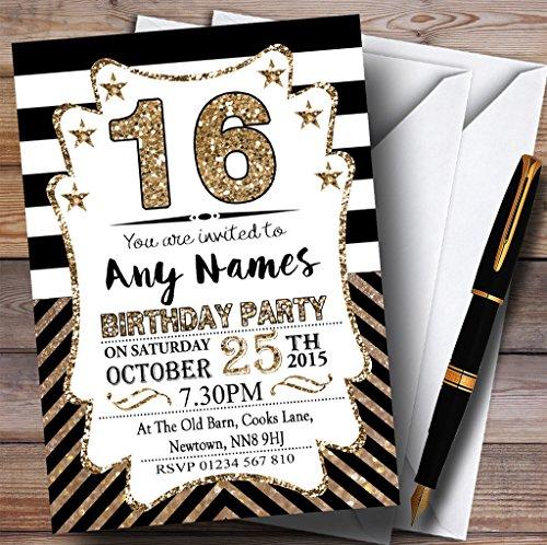 Black & White Bronze Chevrons 16th Personalized Birthday Party Invitations
