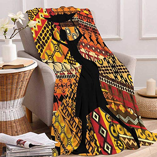 maisi African Woman Digital Printing Blanket Silhouette of a Indigenous Woman Carrying a Basket on Traditional Patterns Summer Quilt Comforter 62