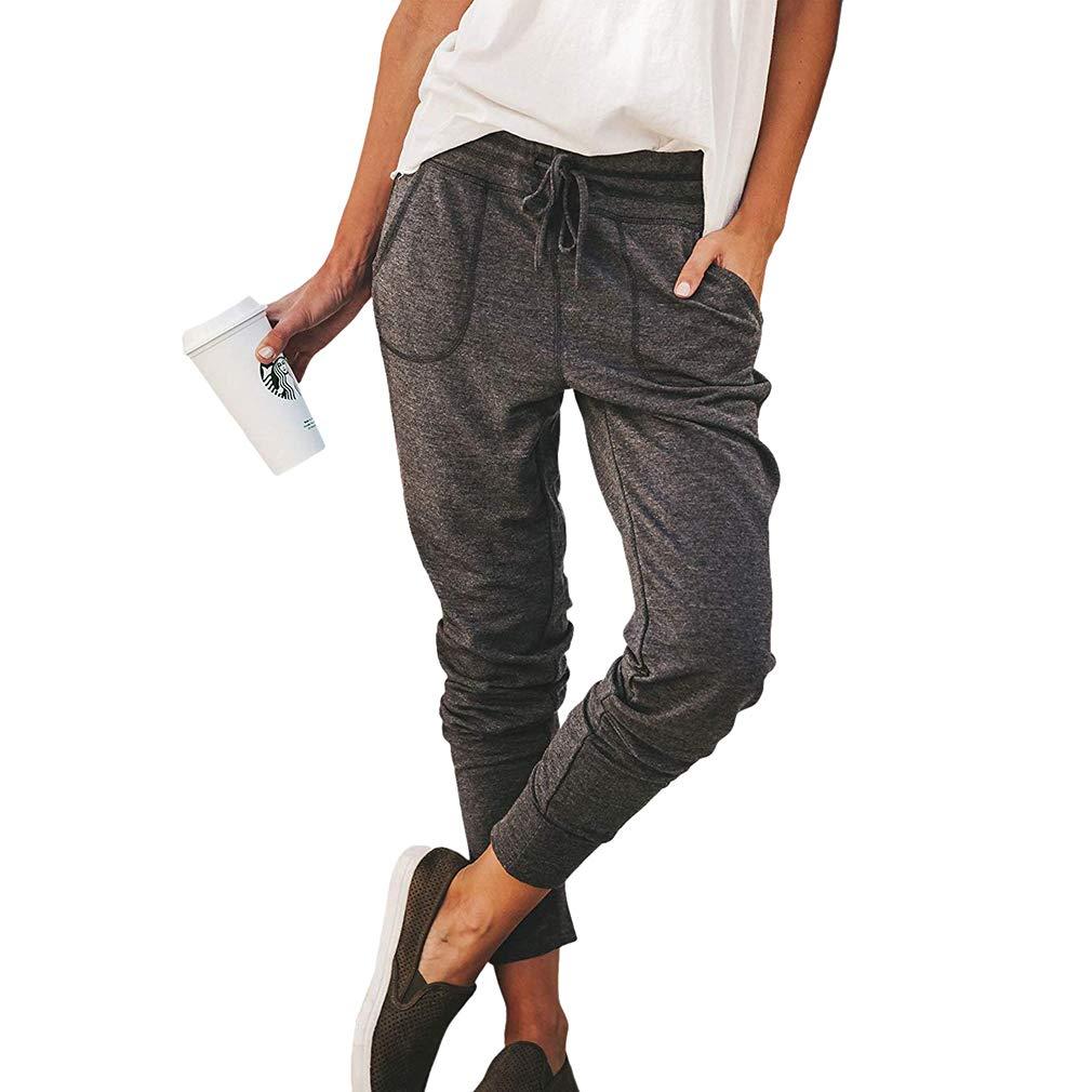 Pantalon De Femme Taille Élastique Pantalons De Jogging Cordon Pantalon De Sport Pantalon De Jogging Décontracté Taper Leg Jogger avec Poches S-XL