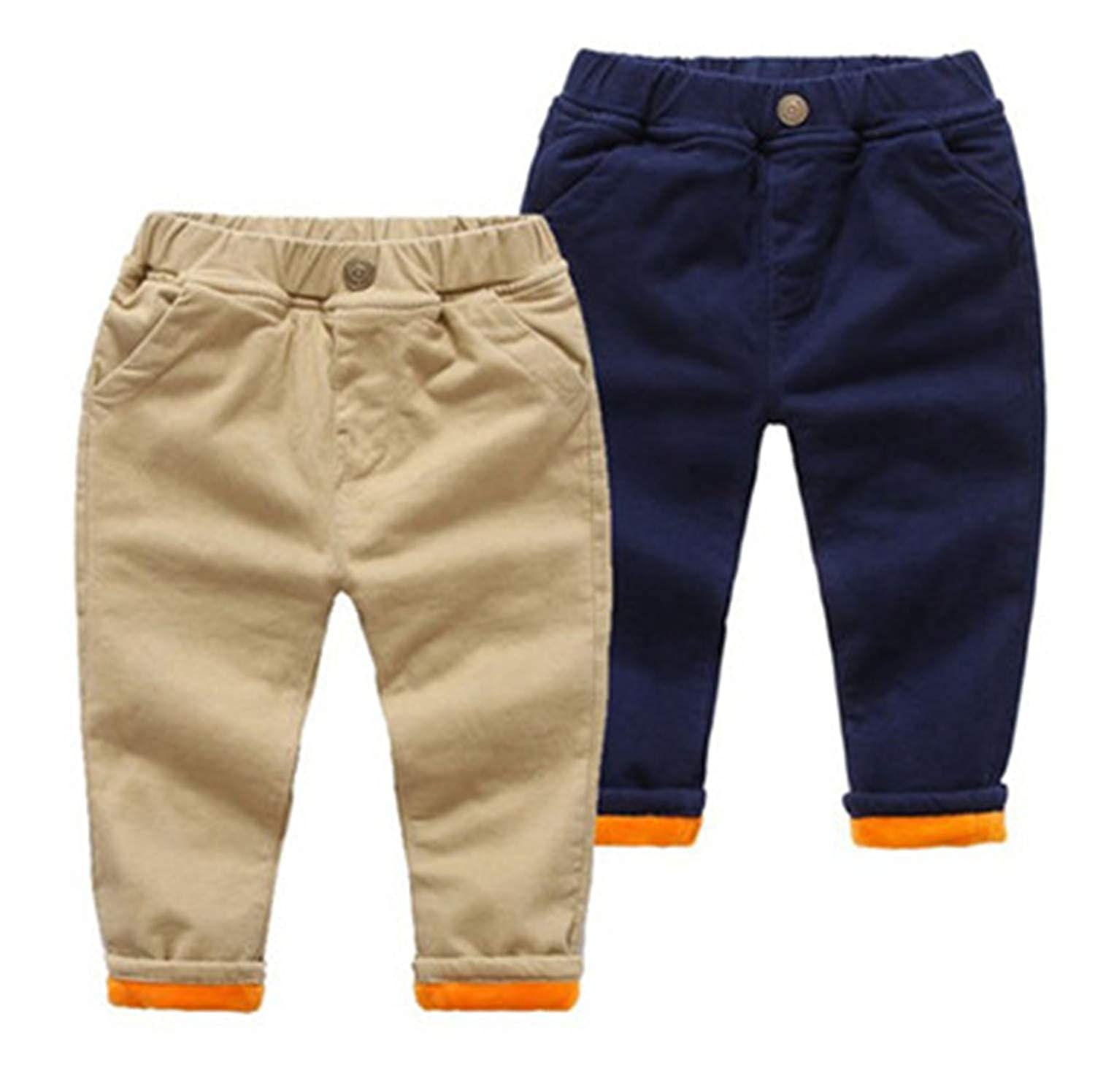Susie Zechariah 80-130Cm Casual Fleece Winter Boys Pants Thicken Trousers Solid Kids Girls Clothes