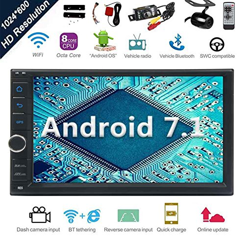 Android 7.1 32GB 2GB Car Stereo Radio with Octa Core Bluetooth GPS Navigation Support Fastboot WiFi MirrorLink USB SD Backup Front Camera 7¡± 1024600 Capacitive Touchscreen Double Din + FREE Dual Cam by EinCar