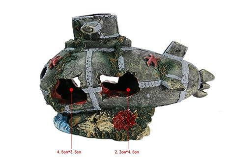 Xinjiener Aquarium Wreck Boat Forma de Ballena Adornos submarinos para pecera Cueva de Ocultación de Peces