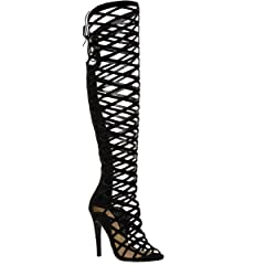 5e239f995041 Fashion Thirsty Womens Cut Out Lace Knee High Heel Boots Gladiator Sandals  Strappy Size