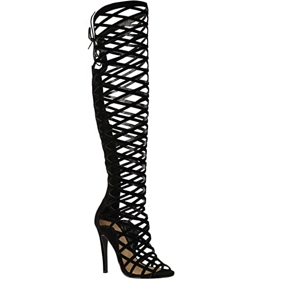 Amazon.com | Fashion Thirsty Womens Cut Out Lace Knee High Heel ...