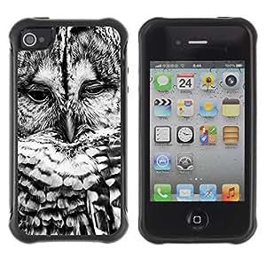Fuerte Suave TPU GEL Caso Carcasa de Protección Funda para Apple Iphone 4 / 4S / Business Style Black White Bird Nature Cute