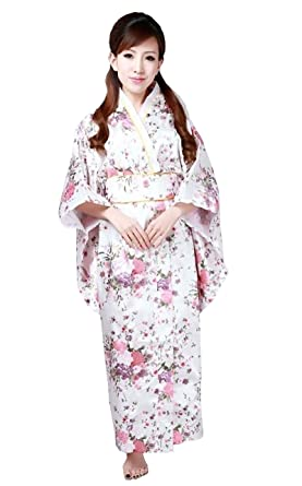 Amazon Cns Kimono Robe White Cherry Blossoms Design