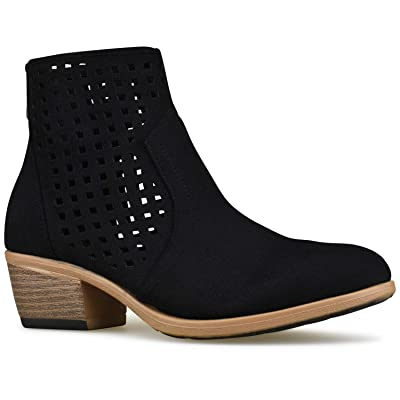 Premier Standard - Women's Back Zipper Closed Toe Bootie - Low Heel Casual Comfortable Walking Boot | Ankle & Bootie