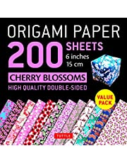 """Origami Paper 200 sheets Cherry Blossoms 6"""" (15 cm): Tuttle Origami Paper: High-Quality Double Sided Origami Sheets Printed with 12 Different Designs (Instructions for 6 Projects Included)"""