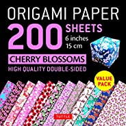 """Origami Paper 200 Sheets Cherry Blossoms 6"""" (15 CM): Tuttle Origami Paper: High-Quality Double Sided Orig"""