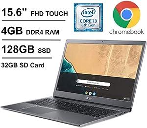 "Acer 15.6"" Full-HD IPS Touchscreen Chromebook, Intel Dual-Core i3-8130U 2.2 GHz up to 3.4 GHz, 4GB DDR4 RAM, 128GB eMMC Storage, Oydisen 32GB SD Card, Webcam, WiFi, Chrome OS (Google Classroom Ready)"