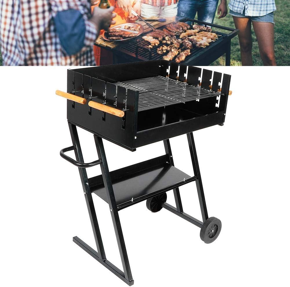 barbecue /à charbon de bois Ausla Barbecue au charbon de bois /à roulettes pour barbecue au charbon de bois accessoires pour fumer de 5 /à 8 personnes barbecue en acier