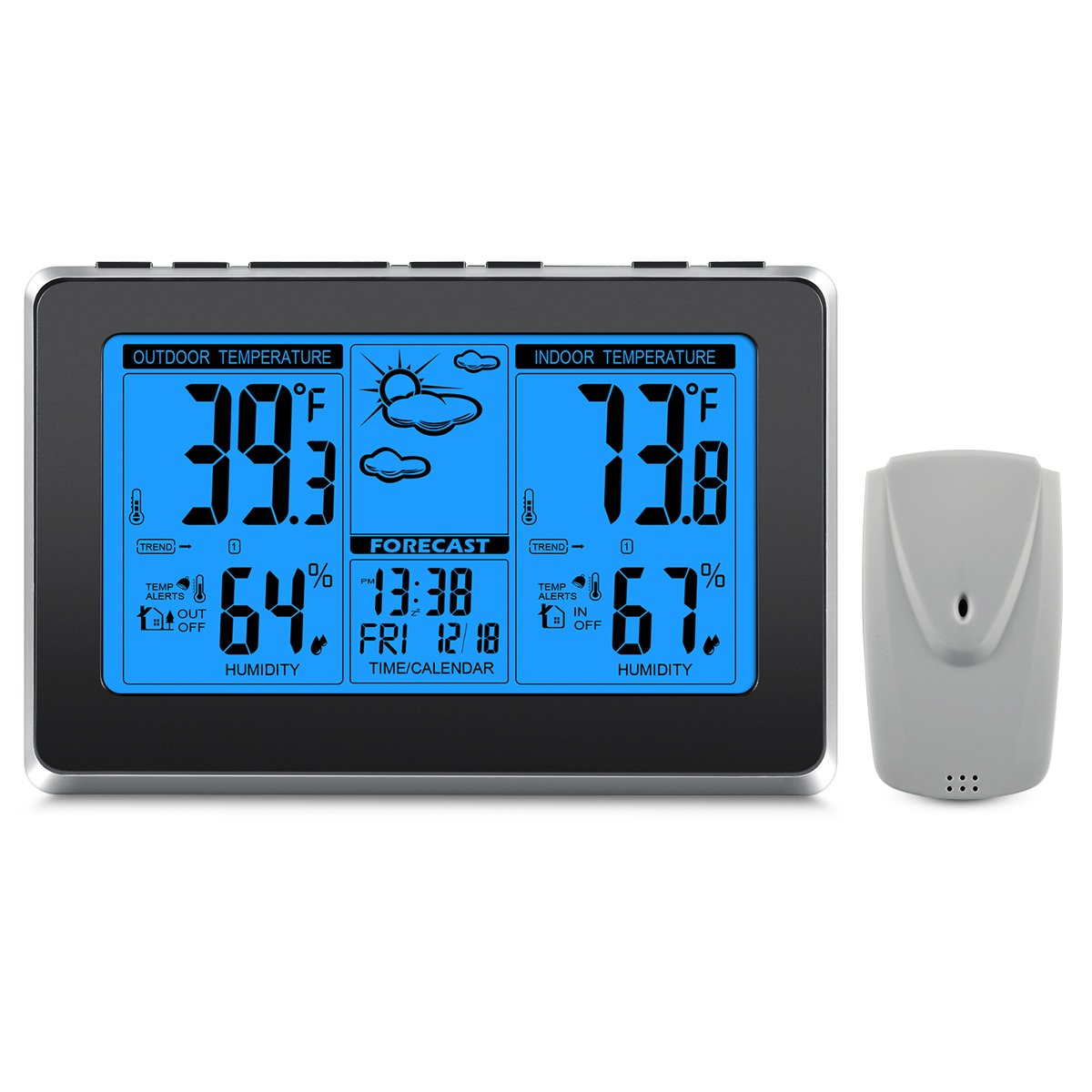 ORIA Weather Station, Wireless Digital Thermometer with Indoor & Outdoor Temperature Alerts, Back Lights & Dual Alarm Clocks, Pressure and Moon Phase, Calendar Display (Batteries not included)