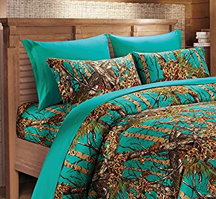 20 Lakes Microfiber 6 Piece Hunter Teal Camo Rustic Bed Sheet Set Pillowcases Queen Teal