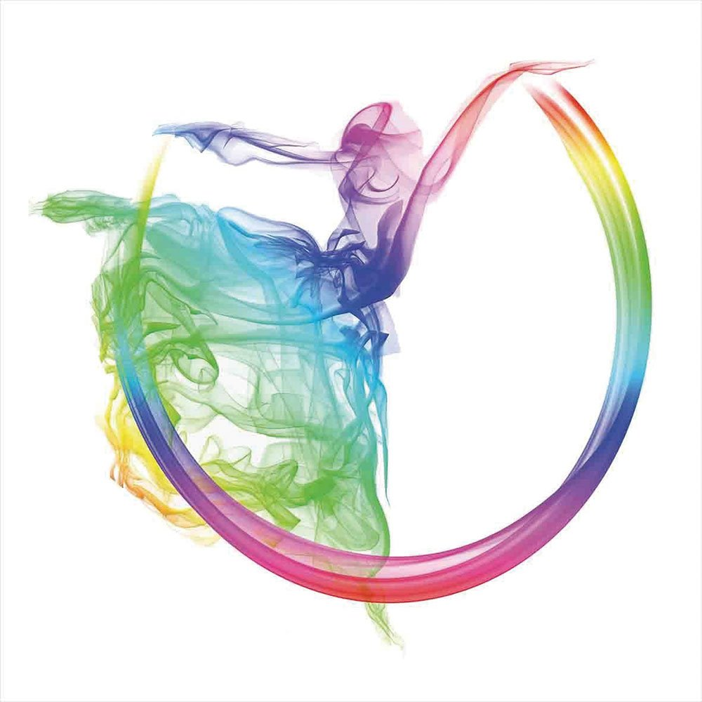iPrint Blackout Window Shades,Free Punching Magic Stickers Curtain,Abstract Home Decor,Smoke Dance Shape Silhouette of Dancer Ballerina Rainbow Colors Fantasy Decorative,Paste Style,for Living Room