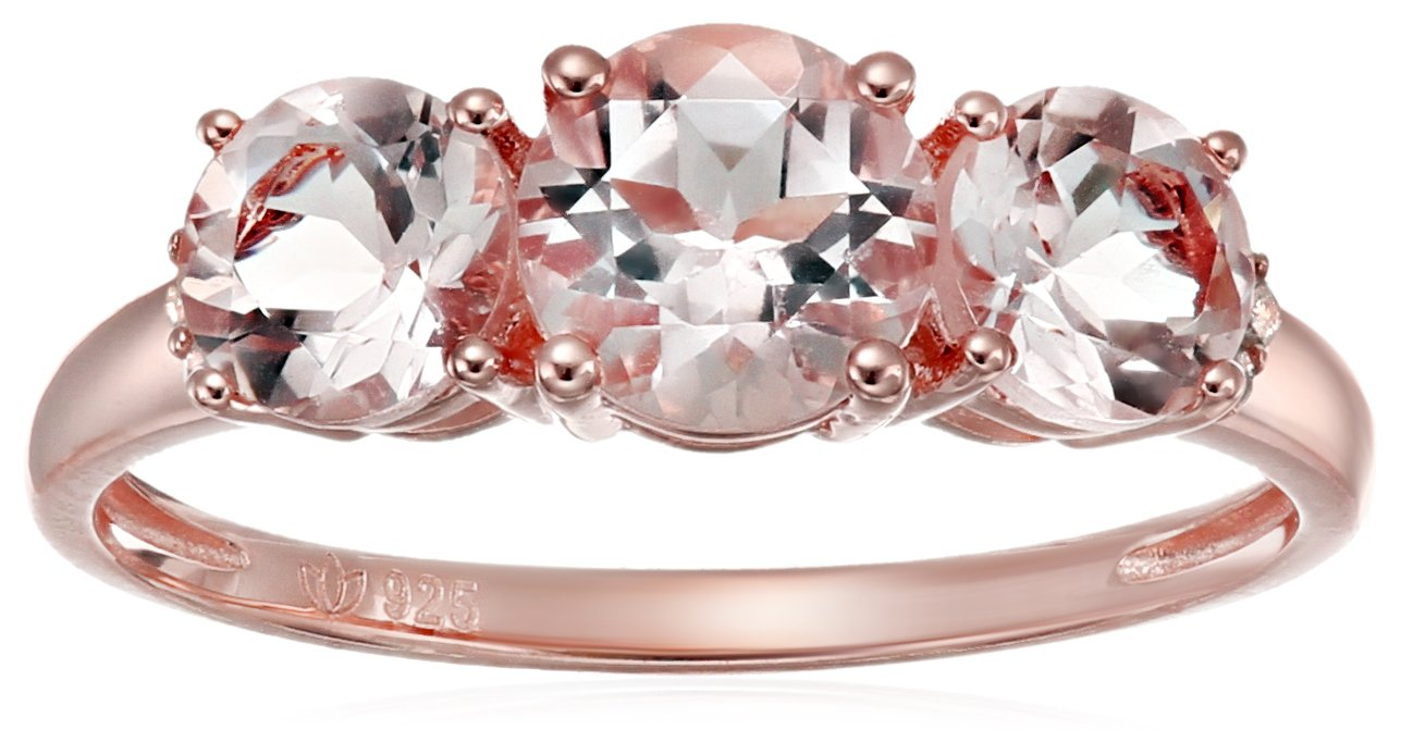 Rose Gold-plated Silver Morganite and Diamond Accented 3-stone Engagement Ring, Size 7