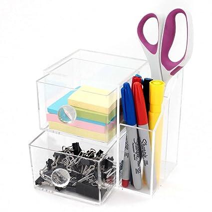 Acrylic Office Pen Notepad Modern Desk Organizer