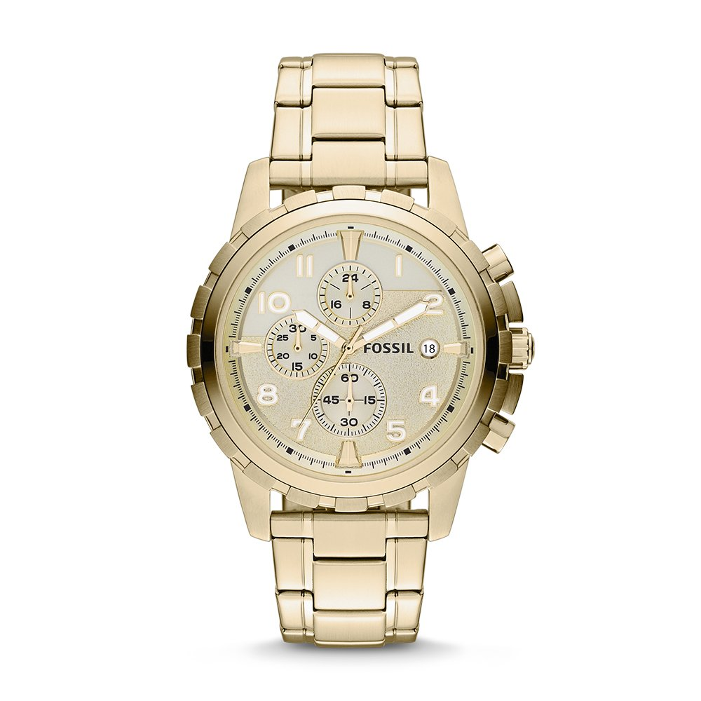 Fossil Men's Dean Quartz Stainless Steel Chronograph Watch, Color: Gold (Model: FS4867)